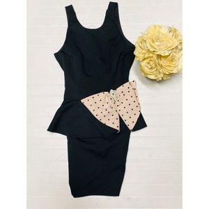 Vintage A.J. Bari Black Pale Pink Bow Detail Dress